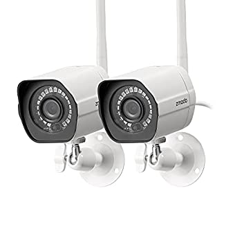 Zmodo Outdoor Security Camera Wireless  2 Pack  1080p Full HD Home Security Camera System Works with Alexa and Google Assistant White  ZM-W0002-2