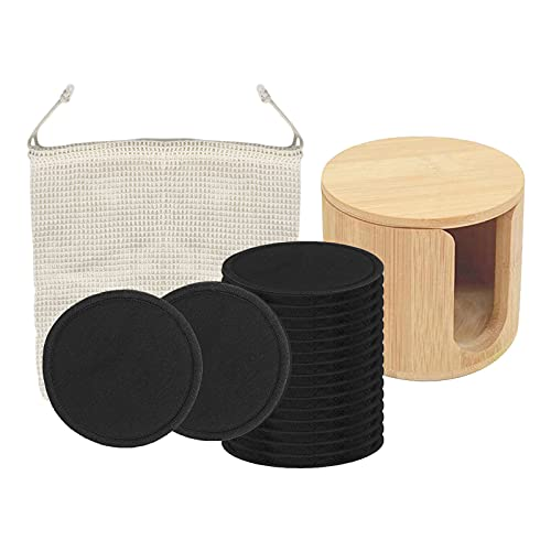 sharprepublic Removedor de Maquillaje Reutilizable con Bolsa de Lavandería Lavable con Contenedor de Madera 100% Algodón de Bambú Orgánico para Todos Los Tipos de P - Negro