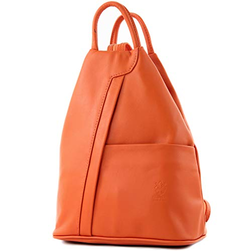 modamoda de - T180 - ital Damen Rucksack Tasche Nappaleder, Farbe:Orange