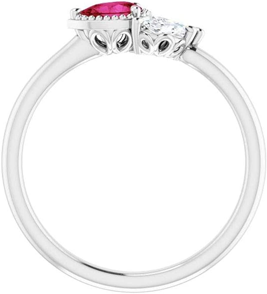 Solid 14k White Gold Solitaire Created Ruby and 1/8 Cttw Diamond Ring Band (.13 Cttw) (Width = 6.3mm) - Size 8