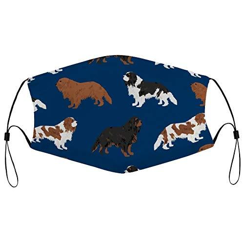 Máscara facial reutilizable de moda Cavalier King Charles Spaniel azul marino lindo perro mascota perros Ruby Black and Tan Pasamontañas lavable al aire libre con 2 filtros para hombres y mujeres