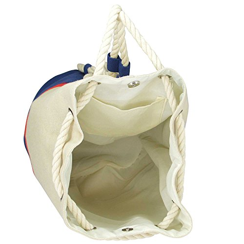 DALIX Large Rope Drawstring Backpack Carry Bag in Navy Blue/Red and Natural