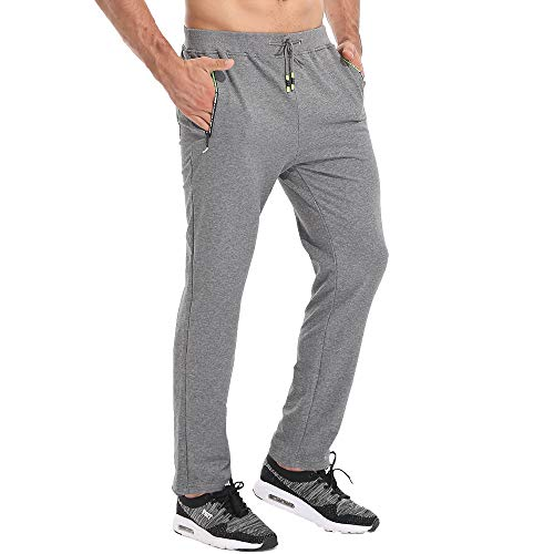 Tansozer Jogginghose Herren Ohne Bündchen mit reißverschluss Taschen Freizeit Baumwolle(Gray XL)