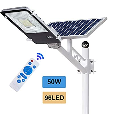 ECO-WORTHY 50 W Solar Street Lights Outdoor Lamp, Solar Powered Flood Lights, 96 LED White 6500K, Dusk to Dawn Sensor Lamp with Remote Control, Light Control for Street, Garden, Pathway