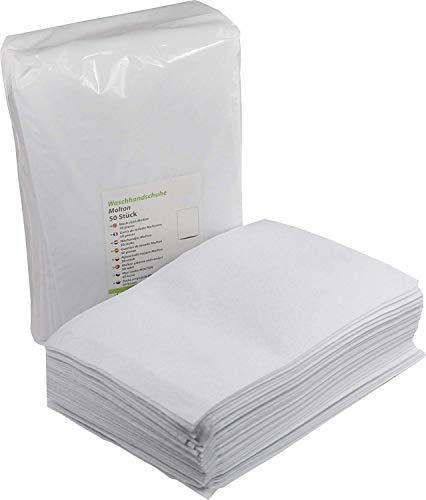 Einmalwaschlappen Weiß 50 Stück | Soft Molton Vliesstoff | saugfähig & sanft zur Haut | Einwegwaschhandschuh Waschlappen ideal für Hygienebereiche - wie Pflegedienste, Kosmetik uvm.