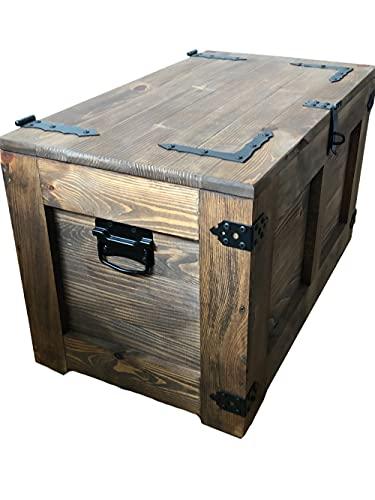 Holztruhe Schatztruhe Aufbewahrungsbox mit vier Räder. Holzkiste Truhe Couchtisch Beistelltisch Vintage Shabby chic klappbarem Deckel und Stauraum. Holzmobel