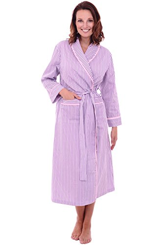 Alexander Del Rossa Women's Lightweight Cotton Kimono Robe, Summer Bathrobe, 2XL Pink and Purple Striped (A0515P452X)