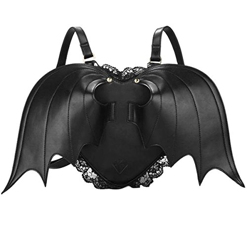 MakerFocus Batwing Backpack Novelty Black Bat Wings Backpack Wing Gothic Goth Punk Lace Lolita Bag