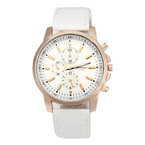 Xinantime Reloje Hombre Mujer,Xinan Análogo de Cuero Cuarzo Dial del Reloj del Deporte (Blanco)