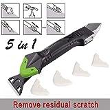 Creative 5 In 1 Silicone Remover Sellador de calafateo Sellador Rascador liso Kit de lechada Herramientas Herramientas de mano de plástico Set Accesorios - Negro-Verde