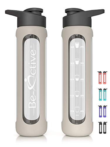 Be-Active - Borraccia motivazionale in vetro, 700 ml, con tempi per bere, idrata senza BPA, Grigio