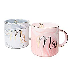 'Mr and Mrs' Ceramic Coffee Mugs Gift Set by Vilight