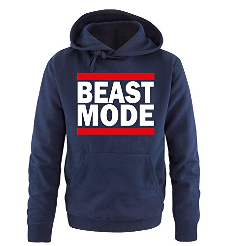 Comedy Shirts - Beast Mode - Herren Hoodie - Navy/Weiss-Rot Gr. XXL