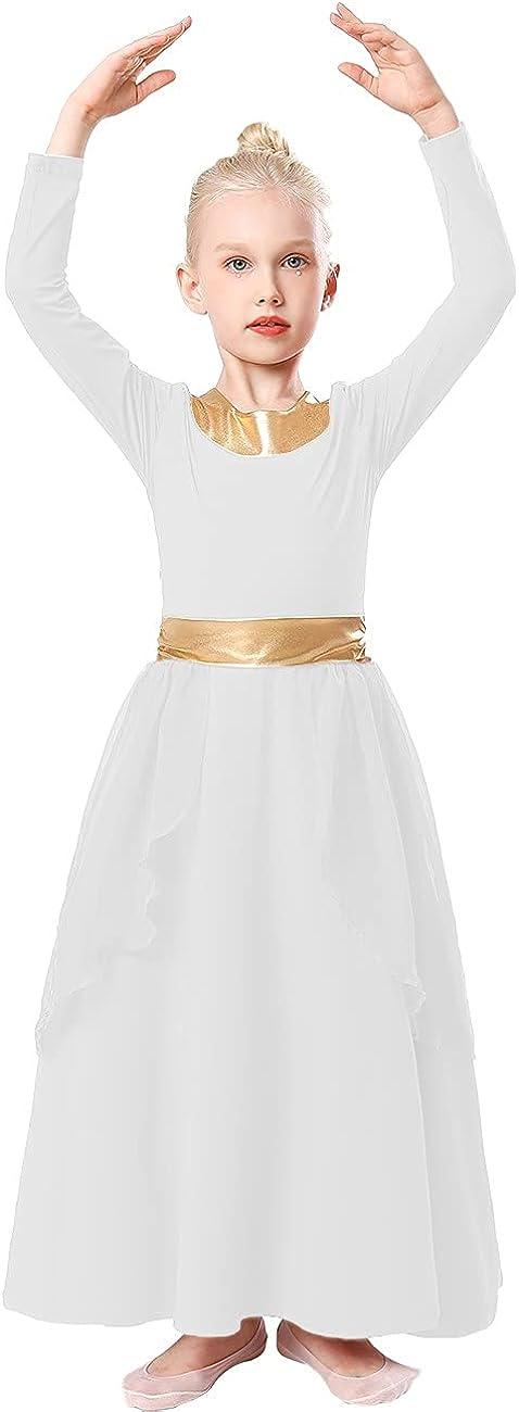 MYRISAM Girls Praise Dance Robe Metallic Liturgical National products Oklahoma City Mall Worship Wais