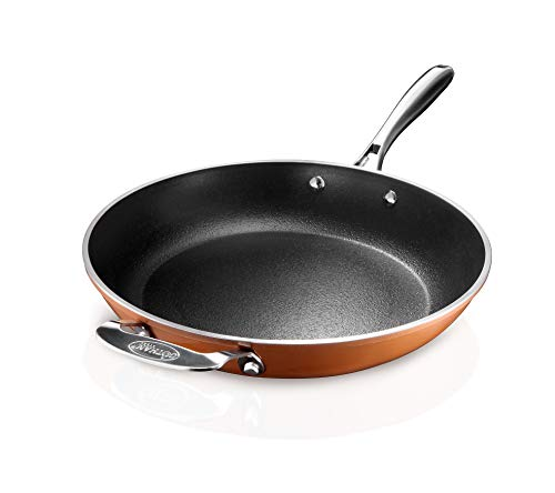 """Gotham Steel Copper Cast 12"""" Large Nonstick Frying Pan with Ultra Durable Mineral and Diamond Triple Coated 100% PFOA Free, Skillet with Stay Cool Stainless-Steel Handle, Oven & Dishwasher Safe"""