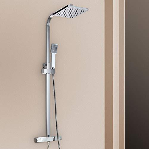Z ZELUS Duschsystem Sets Duschset Duschstangeset Regendusche Duscharmatur mit Thermostat, Duschsäule mit quadratische Überkopfdusche für Badezimmer