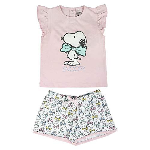 ARTESANIA CERDA Pijama Corto Single Jersey Snoopy Conjuntos, Rosa (Rosa C07), 12M para Bebés
