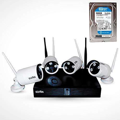 ULSTRA Kit 4 cámaras de Seguridad WiFi con 500GB 1080p 2MP No Necesita Cables Circuito Cerrado Ver en…