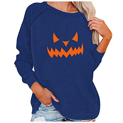 Sudadera de manga larga con estampado de Halloween para mujer, de manga larga, con cuello redondo, estilo informal, elegante, Blue8, S