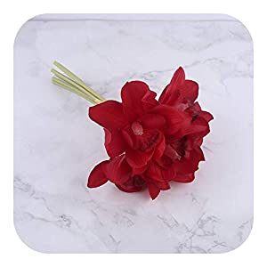 Silk Flower Arrangements Babys Breath Artificial Flowers Bulk, White Orchid Real Touch Flower Bridal Hand Bouquet Wedding Decoration Table Arrangement,red