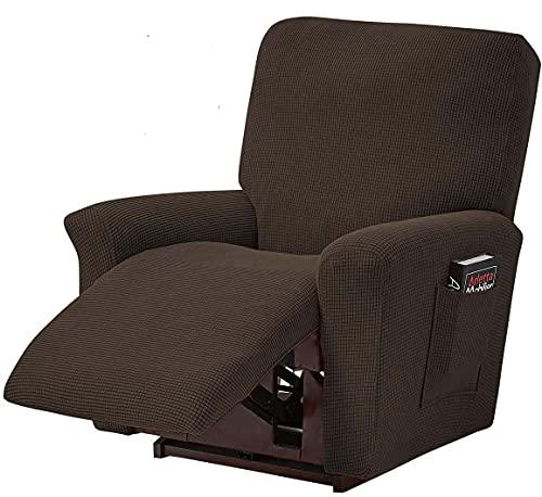 Funda de silla reclinable, funda de sillón reclinable con bolsillo lateral inferior elástico Jacquard Spandex Protector de sofá para sala de estar dormitorio (marrón)