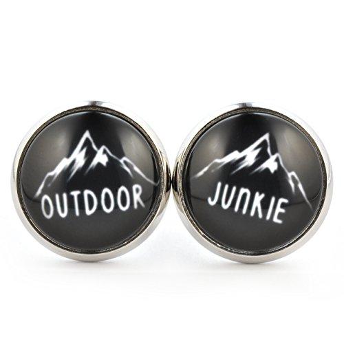SCHMUCKZUCKER Unisex Ohrstecker Spruch Outdoor Junkie coole Modeschmuck Ohrringe silber-farben schwarz weiß 14mm