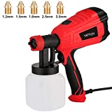 YATTICH Paint Sprayer, 500 Watt HVLP Spray Gun, with 5 Copper Nozzles & 3 Patterns, Easy to Clean, for Furniture, Fence, Car, Bicycle, Chair etc. YT-191