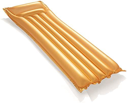 Goud luchtbed, goud drijfrij, opblaasbaar zwemplankje, waterski, strandbed