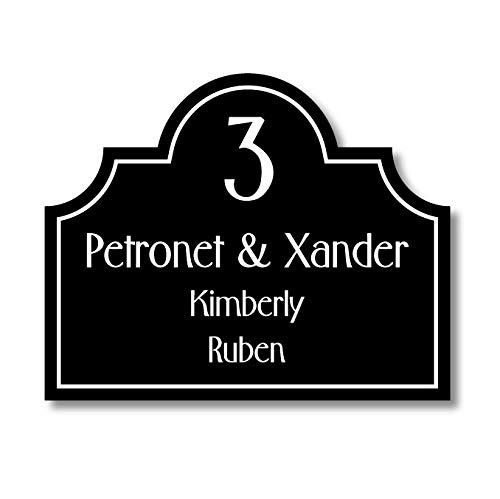 Naambordje Plexiglas Torino | Classico-Line, Zwart 26x21CM | Naambordje Voordeur | Topkwaliteit | Naambordje klassiek | Naambordje laten maken!