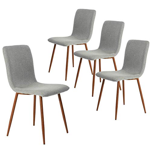 Dining Chairs Set of 4 Kitchen Dining Room Chairs Accent Chairs for Living Room Bedroom Mid Century Modern Upholstered Side Chair with Fabric Cushion Seat Back Brown Metal Legs, Grey