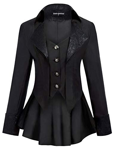 SCARLET DARKNESS Women Gothic Jacket Vampire Riding Tail Coat Mideval Renaissance Costume Black S