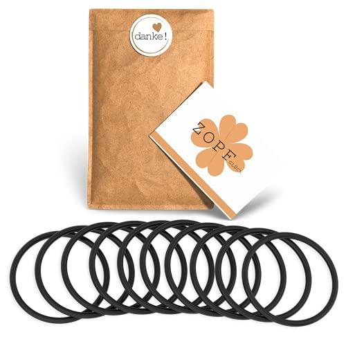 Zopfglück Rutschfeste Premium Haargummis mit Spezialbeschichtung - Reißfeste und elastische Zopfgummis (10 Stück)
