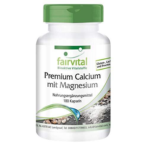 Calcio & Magnesio Premium - Carbonato y Gluconato de Calcio + Gluconato y Óxido de Magnesio + Polvo de Concha de Ostra - Dosis elevada - 180 Cápsulas - Calidad Alemana