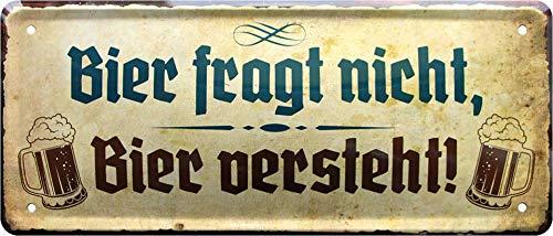 Blechschilder Lustige Bier Trink Sprüche Deko Schild Bar Theke Pub Metallschild Saufen Witziges Geschenk zum Geburtstag oder Weihnachten 28x12 cm (Fragt nich)