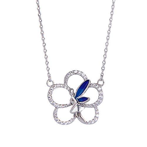 XKA 925 Collar De Plata Esterlina, Collar Piedra Cristal Olvides Verdadero Amor Encantos Flores - Circonita Cúbica para El Día San Valentín Regalo Navidad