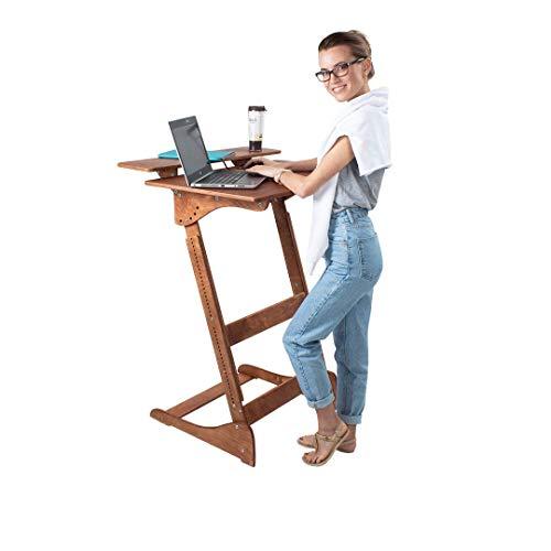 ALNETI Stehpult Stehtisch für Erwachsene Typ D- Holz - Tisch höhenverstellbar - Kontorka - Gestell unlackiert (Tischplatte Nuss, hell) Adjust Standing Desk