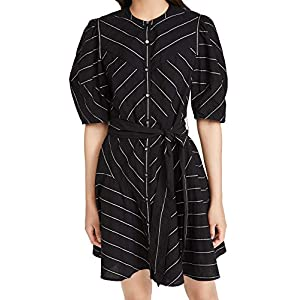 La Vie Rebecca Taylor Women's Short Sleeve Satin Stripe Dress