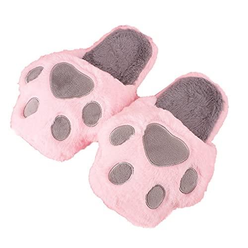 Cómodo Caliente De Dibujos Animados Gato Garra Zapatillas Felpa Y Caliente Linda Niñas Pisos Antideslizante Zapatos De Garra De Gato