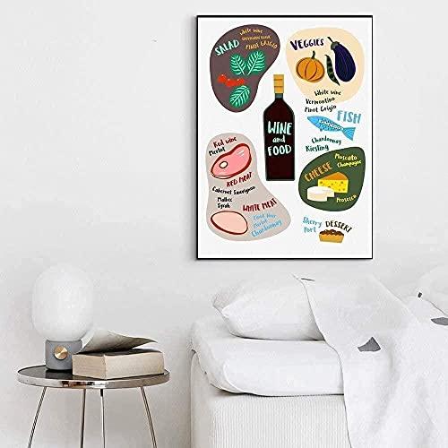 YYTTLL Carteles Impresos-Historias de Cocina café Vino Comida Verduras Verdes Verduras Setas Lienzo póster Cuadros de Pared para Sala de estar-40X60Cm sin Marco