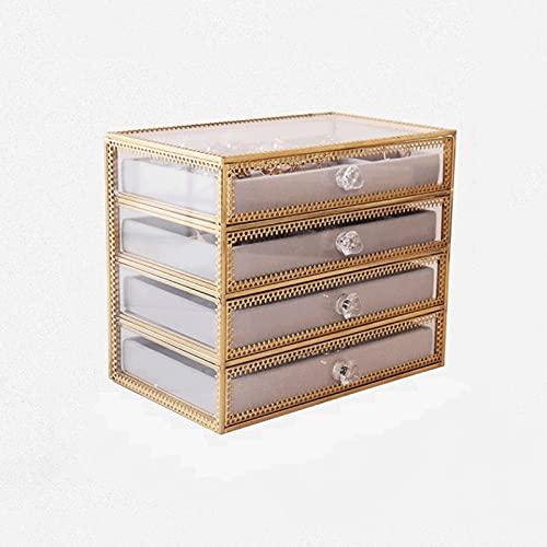 Caja Joyero Caja de Joyas Caja de joyería de 4 cajones, Pantalla de Estuche de Almacenamiento de joyería acrílica Clara, Organizador de joyería de Terciopelo para Anillo/Pendiente Brazalete Pulsera
