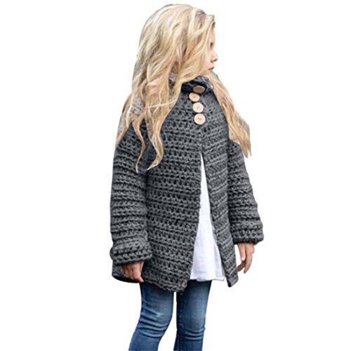 Btruely Baby Mädchen Strickjacke Baby Kleinkind Mädchen Winterjacke Kinderjacken Winter Warm Mantel Jacke Dicke Kleidung Winter Gestrickt Sweatshirt (Grau, 140)