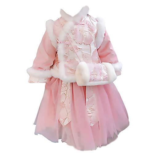 XYW Baby Girl Hanfu - Traje Tang Traje Retro Ropa de Año Nuevo Espesado Estilo Chino Ropa de Invierno Muchacha Traje para niños (Color : Pink, Size : #100)