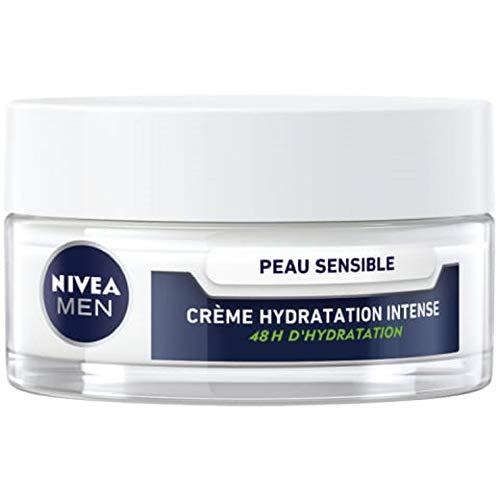 NIVEA MEN Crème hydratation intense Peau Sensible (1 x 50 ml), crème hydratante pour les hommes à la peau sensible et irritée, soin visage homme 0 % alcool