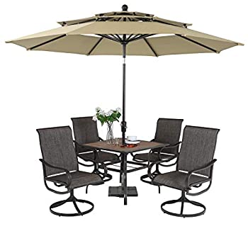 PHI VILLA 5 Piece Swivel Patio Dining Set with Umbrella Beige  Outdoor Patio Table and Chair Set with 10ft Large Table Umbrella No Base  for 4 Lawn Garden Patio Furniture Dining Set