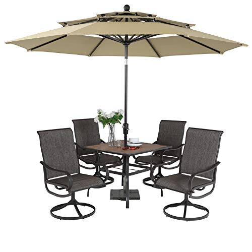 PHI VILLA 5 Piece Swivel Patio Dining Set with Umbrella(Beige), Outdoor Patio Table and Chair Set with 10ft Large Table Umbrella(No Base) for 4, Lawn Garden Patio Furniture Dining Set