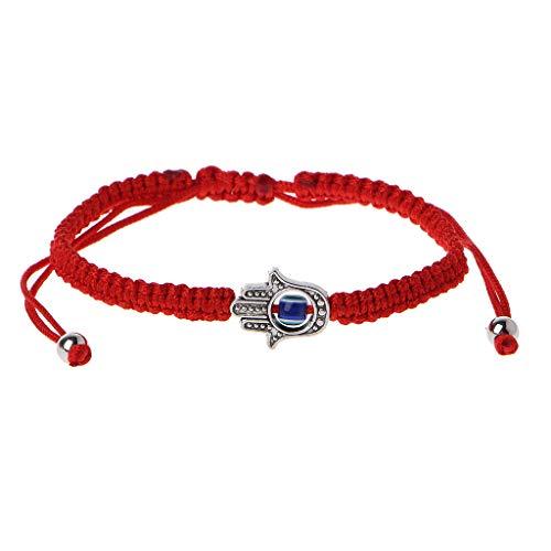 Cuigu - Pulseras de Hamsa de la suerte de cadena roja de Kabbale para mano de Fátima de ojo malvado de azul (B #)