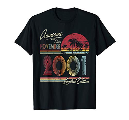 Awesome Since November 2001 19th Birthday Gift 19 Years Old T-Shirt