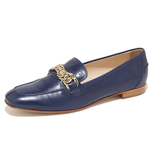 Tod's 96442 Mocassino Blu Cuoio SP Catena Scarpa Donna Loafer Shoes Women [37]