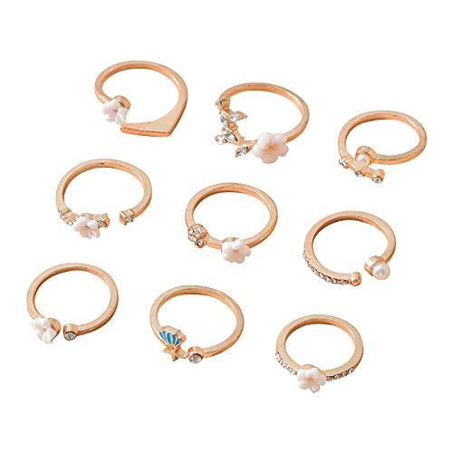 minjiSF Set di anelli a forma di fiore, per donne e ragazze, con perla bianca unica, placcato oro, per gioielli da donna, gioielli unici 9 pezzi (oro)