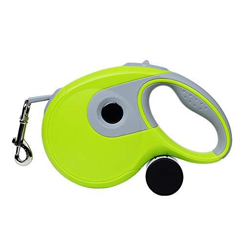 Retractable Dog Leash, Protective Bungee Leash, Convenient Hook, Reflective Retractable Dog Leash with Handle 16 Feet Strong Nylon Leash(5m, Green)